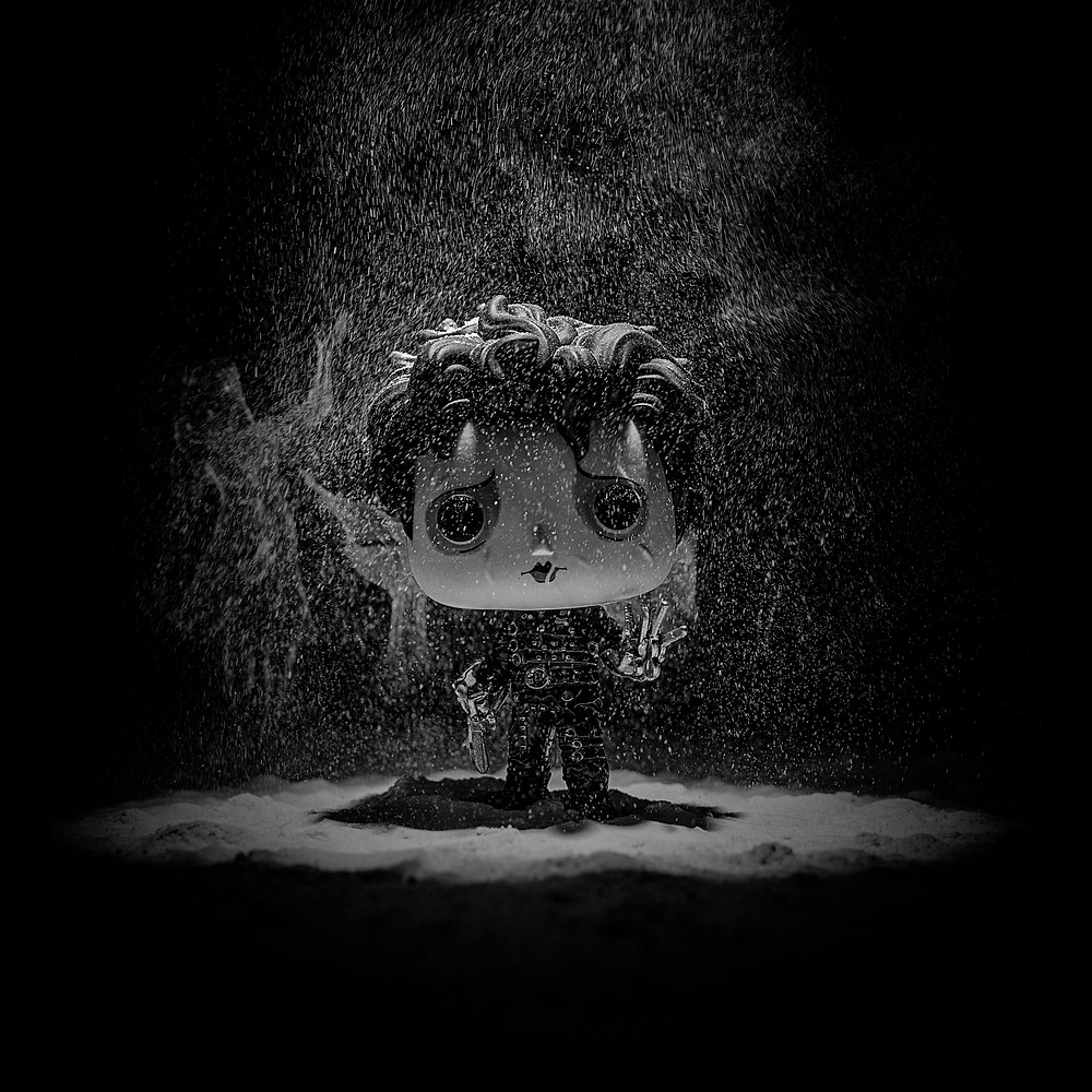 Edward Scissorhands Funko in the snow