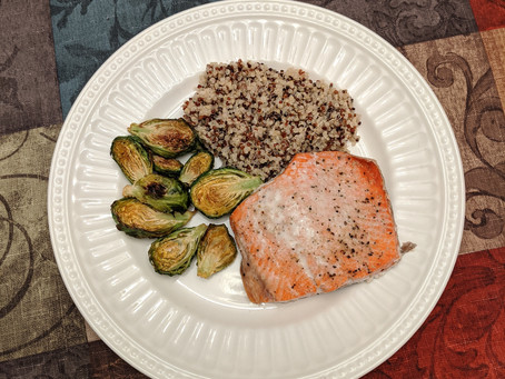 Recipe: Oven Baked Salmon With Oven Roasted Brussel Sprouts & Quinoa