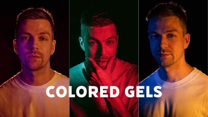 3 lights colored gels portrait photograh