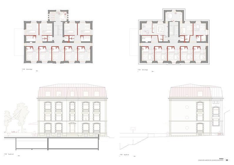Architecture Concours pour la transformation d'une école en auberge de jeunesse Neuchâtel