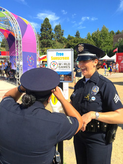 Los-Angeles-Police-Department-Special-Olympics-World-Games-sunscreen-dispenser-sun-shield-sunblock