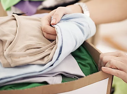 box of donated clothing