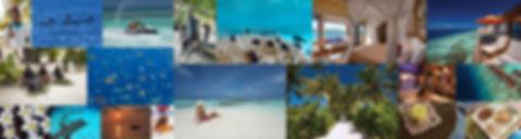 Kombince obydleného ostrova Thinadhoo a resotu Oblu Select at Sangeli, Maledivy.