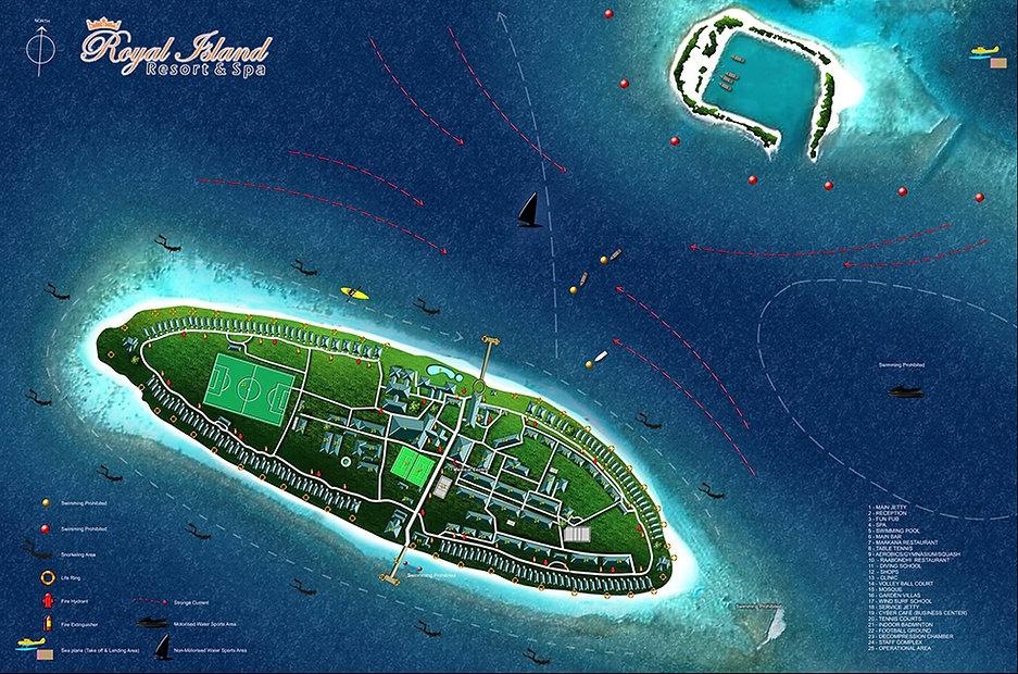 Mapa Royal Island Resort & Spa, Maledivy