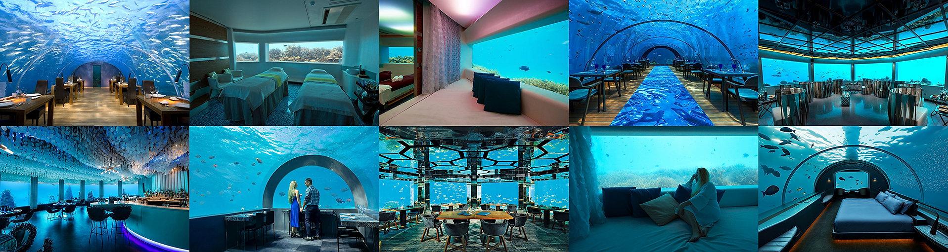 Podmořské restaurace, spa a residence, Maledivy