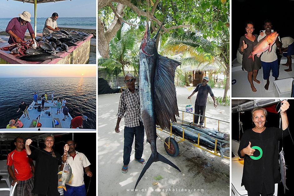 Rybolov na Vaavu atolu na Maledivách.