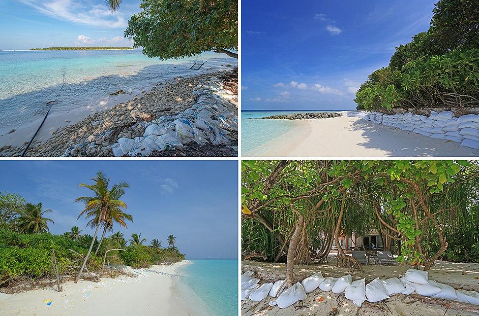 Eroze ostrovů na Maledivách