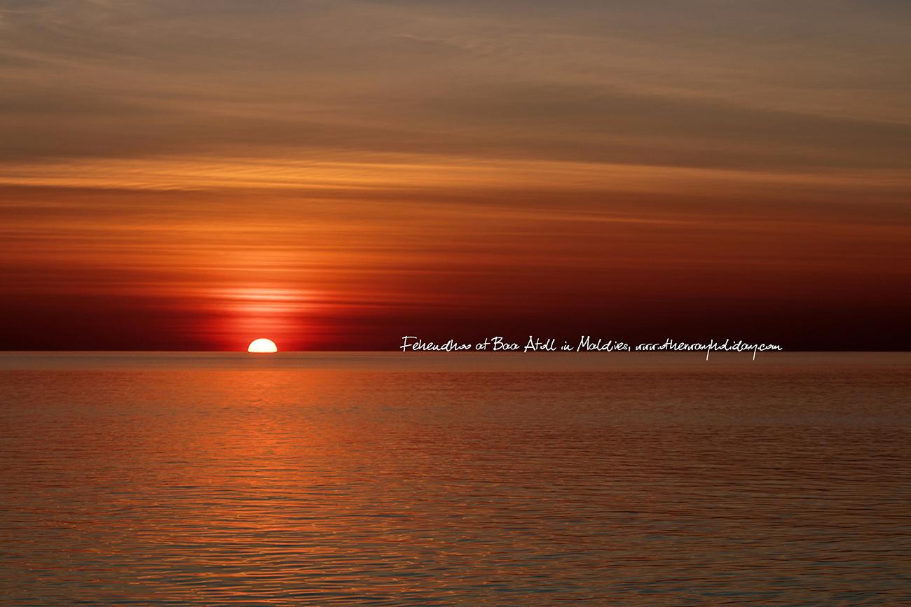Západ slunce, Fehendhoo, Maledivy