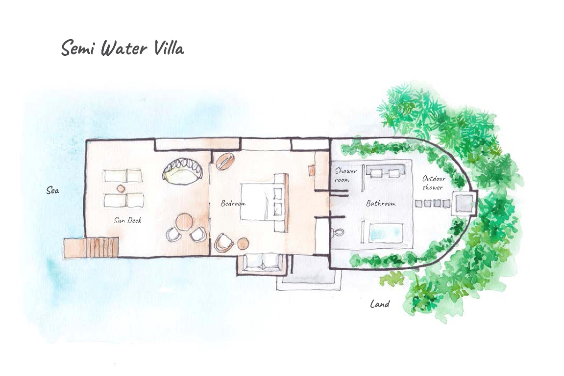 Dhigufaru Island Resort, Baa Atoll, Maldives - Floor Plans - Semi Water Villas