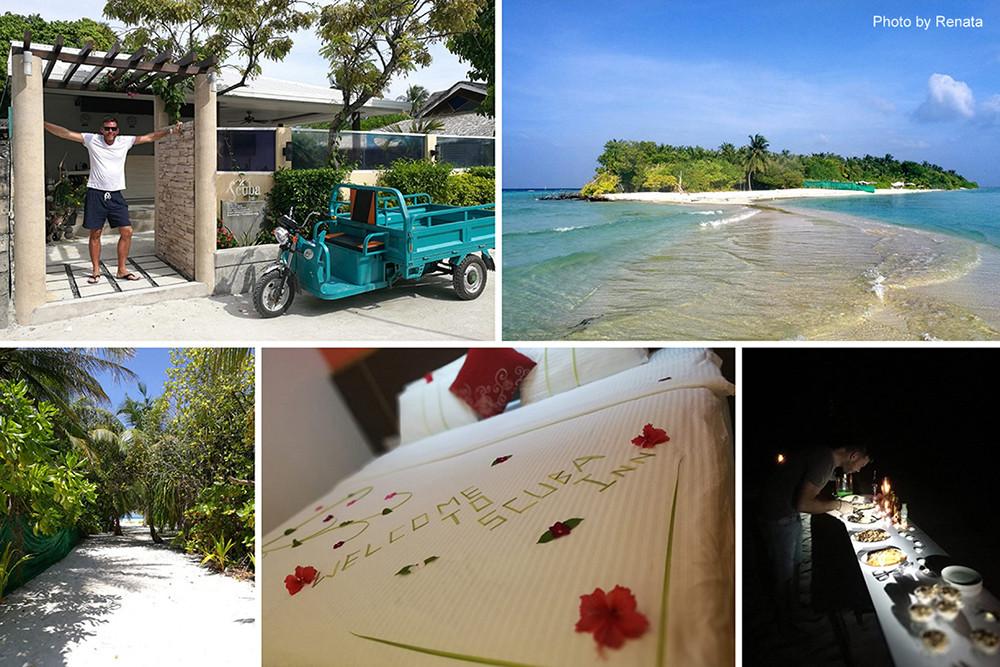 Omadhoo a Scuba Inn na Alif Dhaal atolu na Maledivách.
