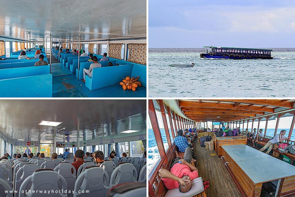 Cestování ferry, veřejný trajekt, Maledivy