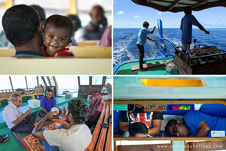 Zážitky při cestování, veřejný trajekt Maledivy,