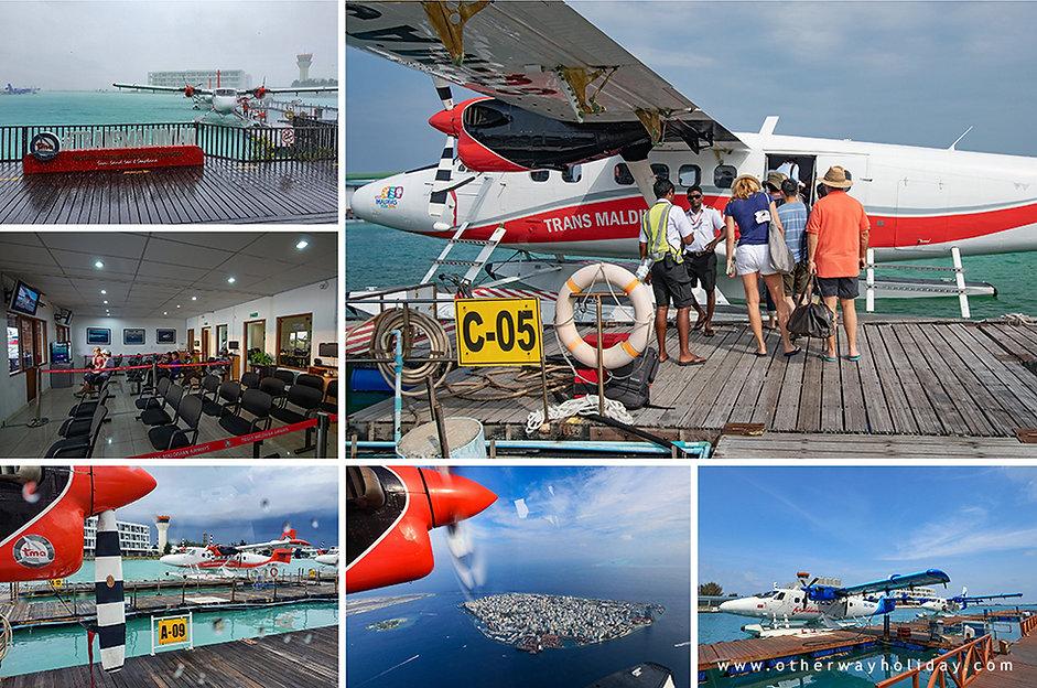 Boarding do hydroplánu na Maledivách