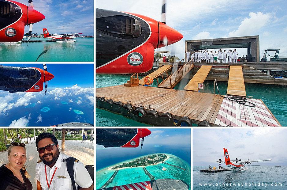 Start, průběh let a přistání na resortu na Maledivách