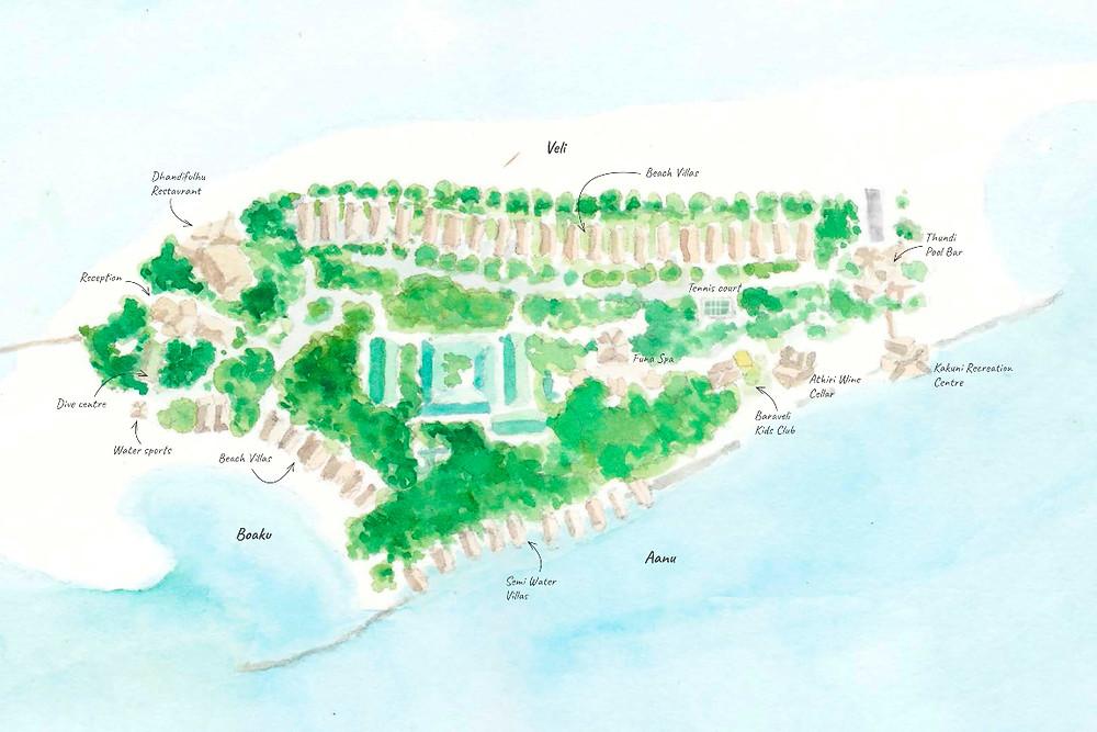 Mapa ostrova Dhigufaru, Baa atol, Maledivy
