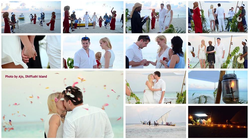Dhiffushi, sevení Male atol, Maledivy, svatba na pláži
