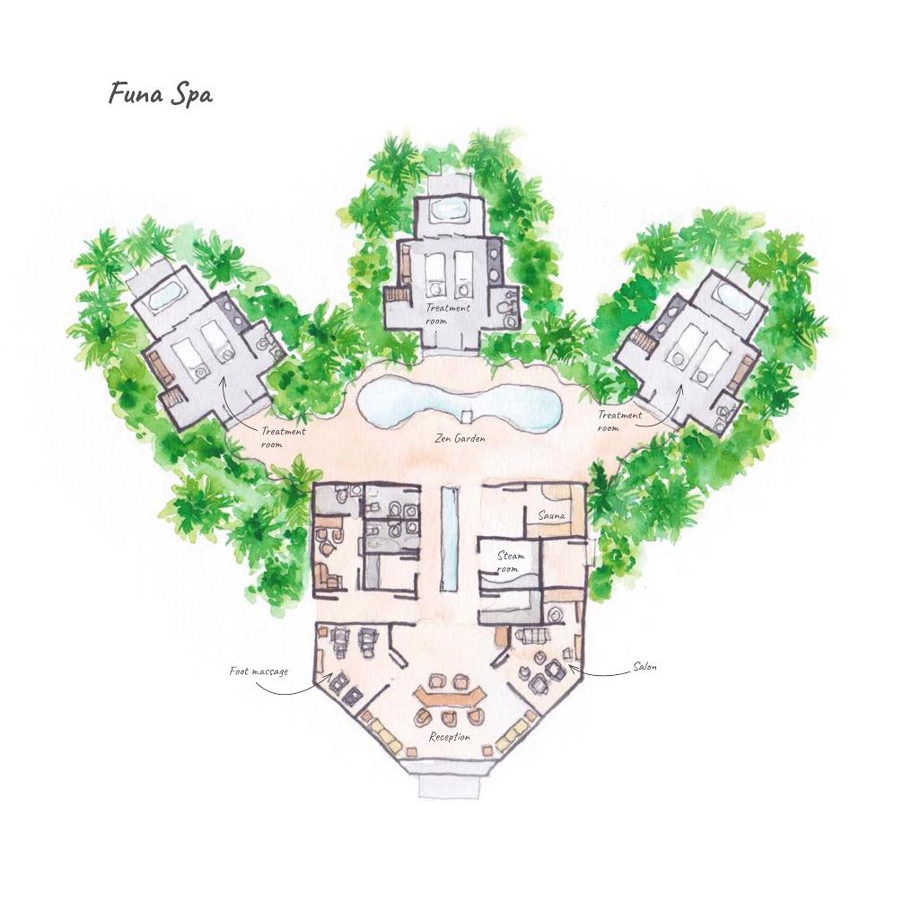 Dhigufaru Island Resort, Baa Atoll, Maldives - Floor Plans - Funa Spa