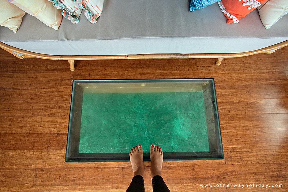 Okno v podlaze,vodní vila, Maledivy