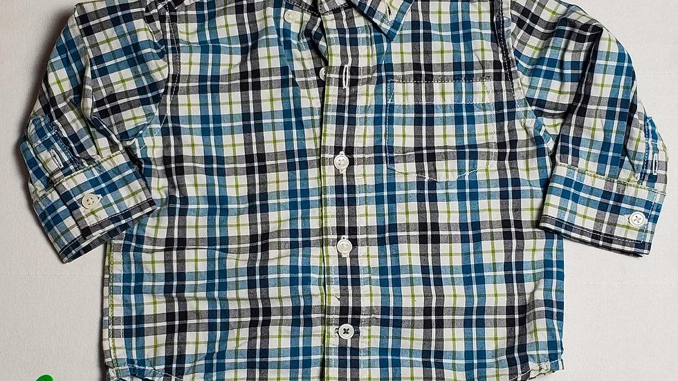 camisa m.largarayas verdas, blancas, negras y azules
