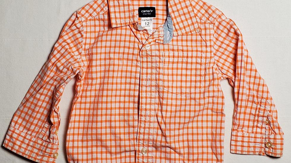 camisa m.largablanca con cuadros naranjas