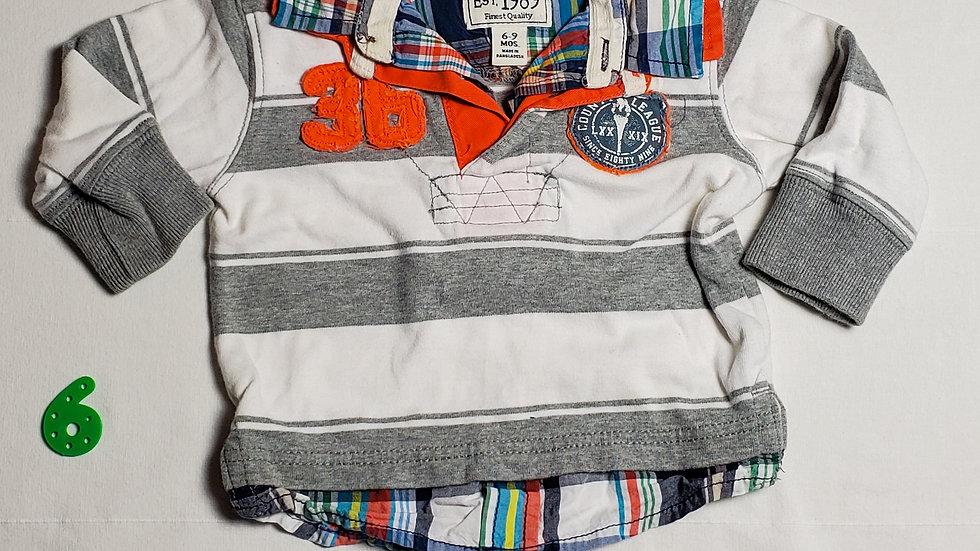 camisa m.largarayas blancas y grises con una figura color naranja