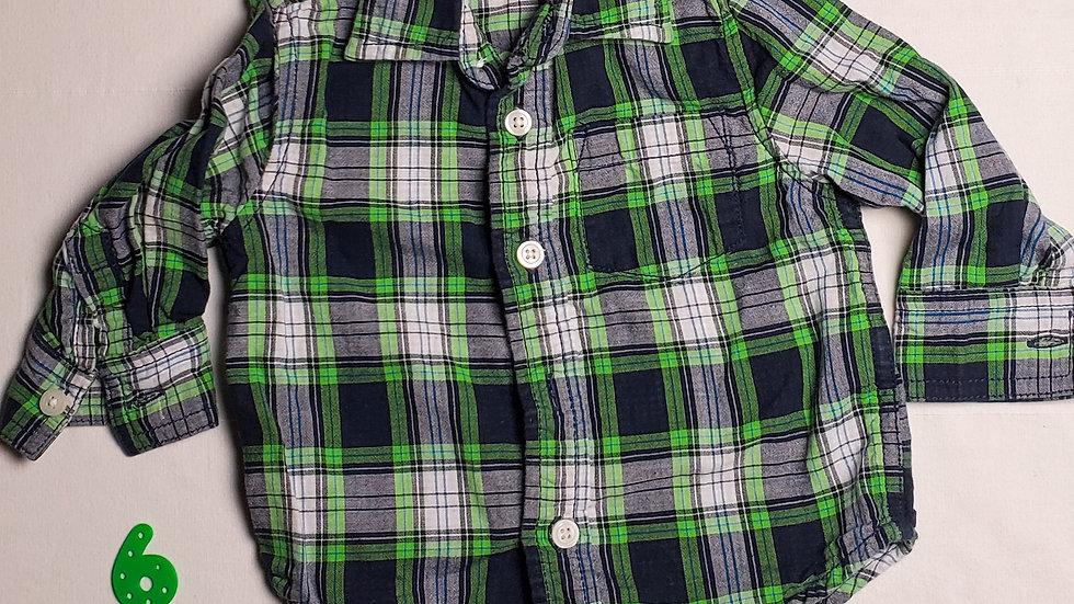 camisa m.largacuadros verdes, azules y blancos