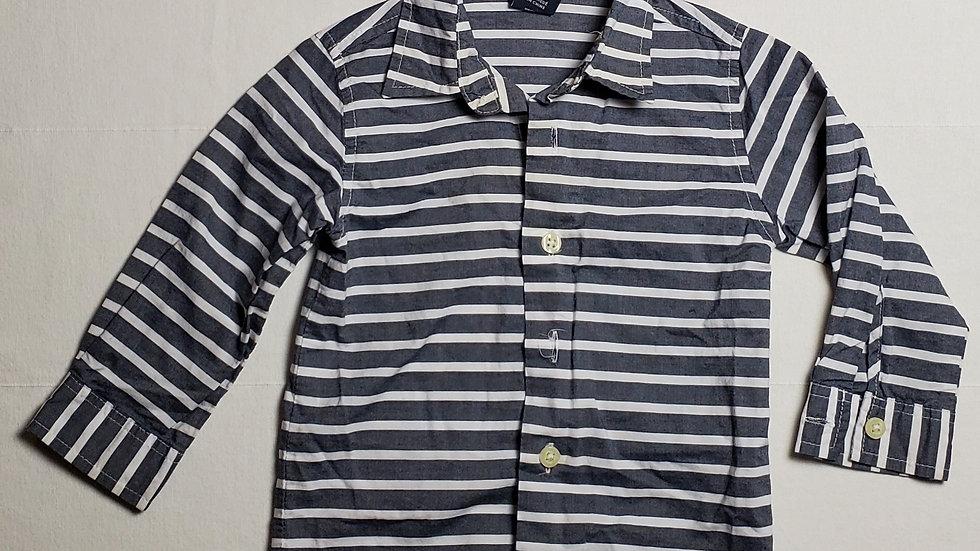 camisa m.larganegra con rayas blancas