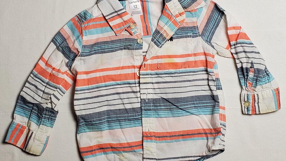 camisa m.largablanca con rayas azules, grises y naranjas