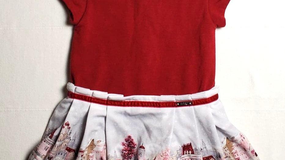 NUEVO Vestido Guinda con falda gris con paisaje navideño