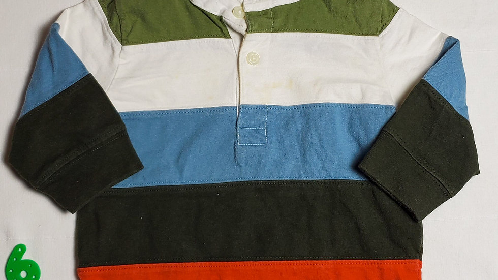 camisa m.largalineas color verde, rojo, negro, azul y blanco