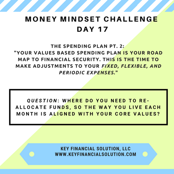 "Money Mindset Challenge Day 17: ""The Spending Plan Pt. 2- Values Based Spending"""