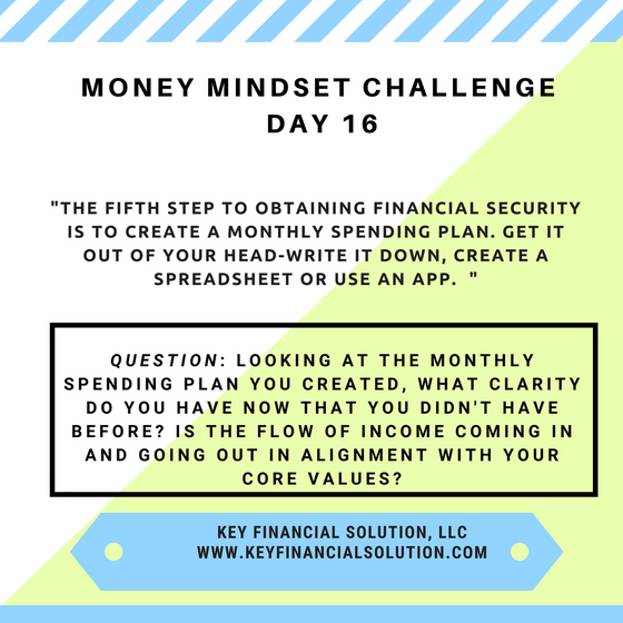 "Money Mindset Challenge Day 16: ""The Spending Plan"""