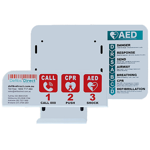 Wall Bracket for AED with DRSABCD signage + detachable hook