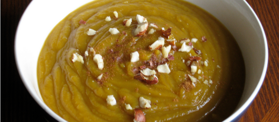 Roasted Butternut Squash Soup with Toasted Hazelnuts & Squash Seeds
