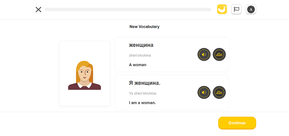 Application to learn a new language