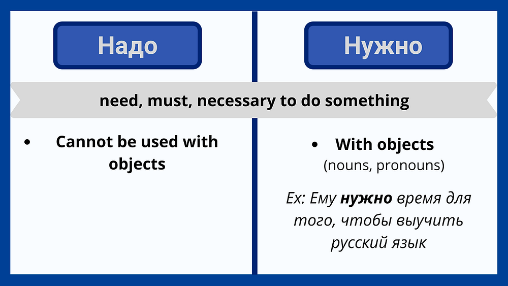 Надо vs нужно in Russian language difference