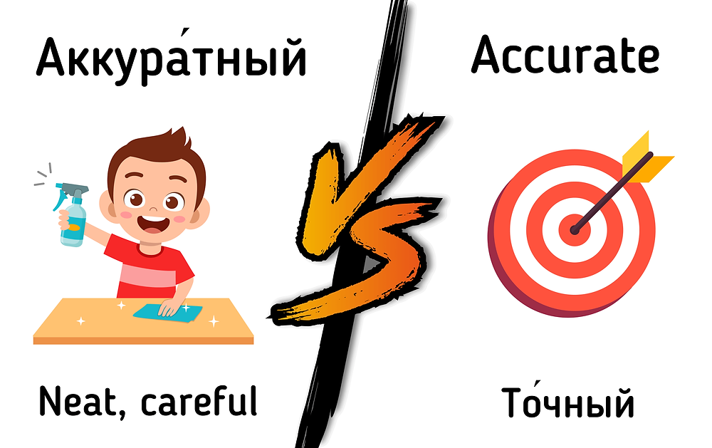 Russian-English false cognates in pictures