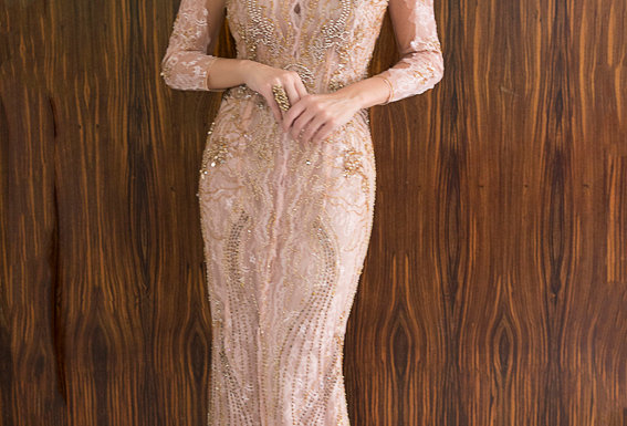 Vestido Nude Longo Bordado 1218 DL