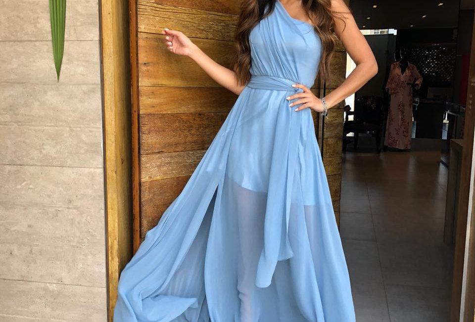 Vestido Azul Longo Liso 19940 FD