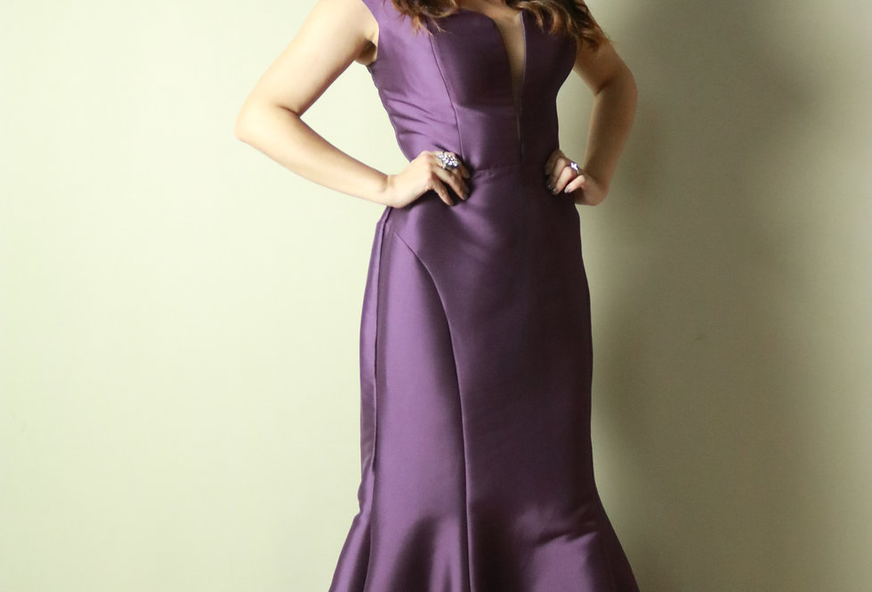 Vestido de Aluguel Longo Roxo Liso 20398 FD