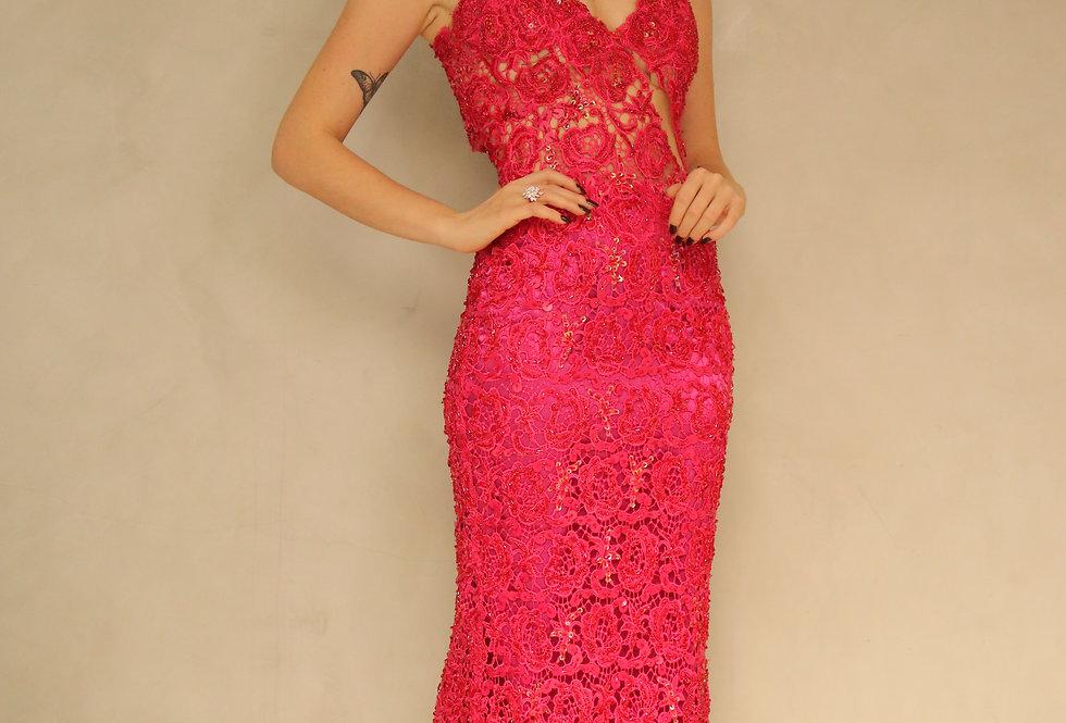 Vestido Rosa Pink Longo Renda Guipir 3451 FA