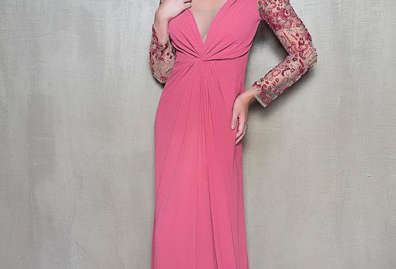 Vestido Rosa Longo Meio Bordado 1202 DL