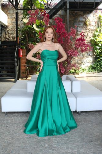 703ede1c45 Vestido Verde Esmeralda Longo Liso 18364 FD