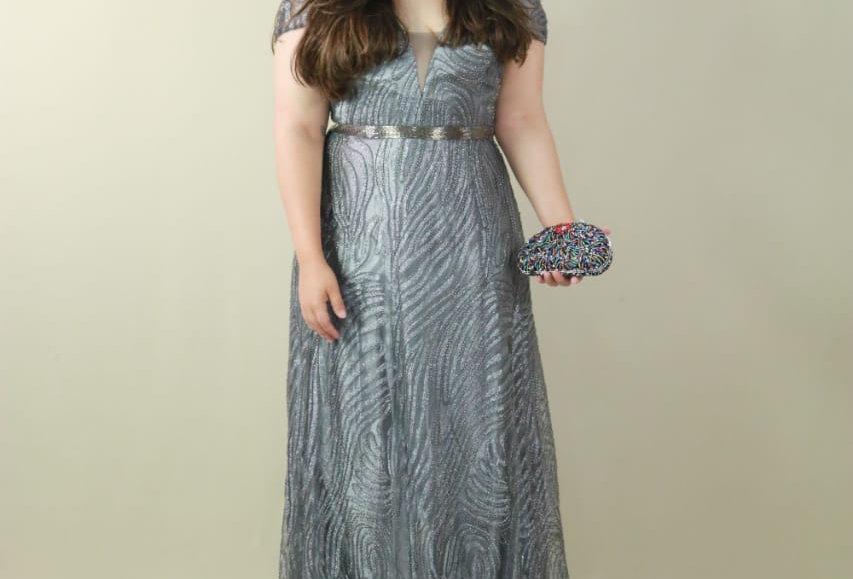 Vestido de Aluguel Chumbo Longo 10575
