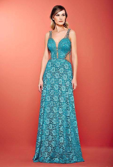 Vestido Azul Turquesa Leve Bordado Longo 1908 Pt
