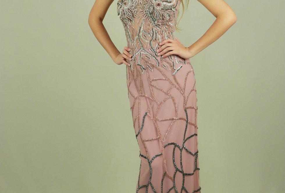 Vestido de Aluguel Longo Rosa 0102 FA