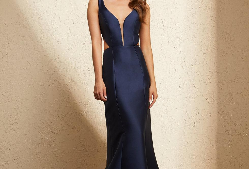 Vestido Azul Marinho Longo Liso 19394 FD