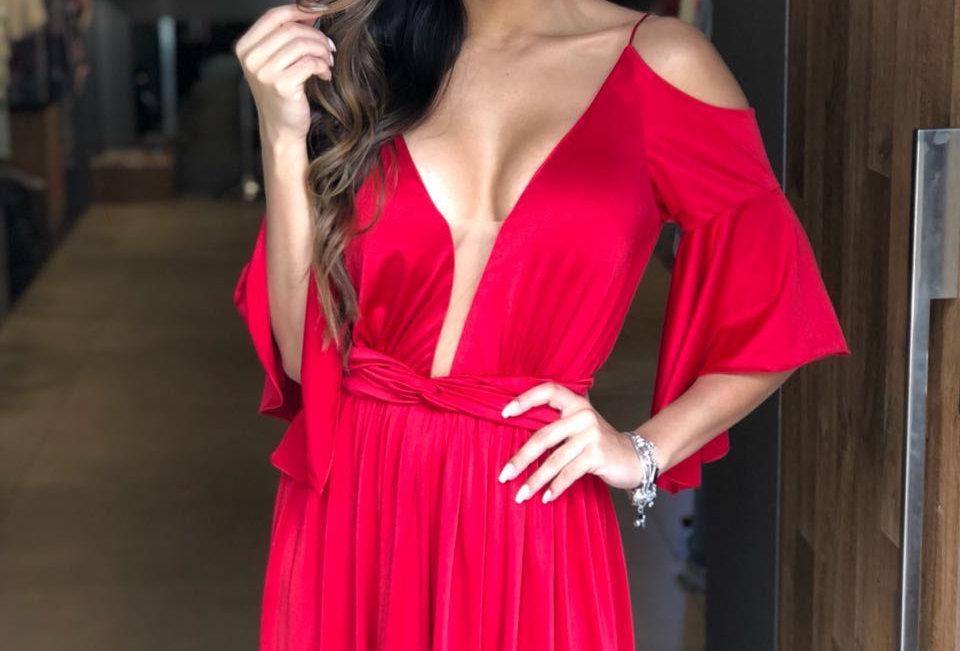 Vestido Vermelho Longo Liso 19901 FD