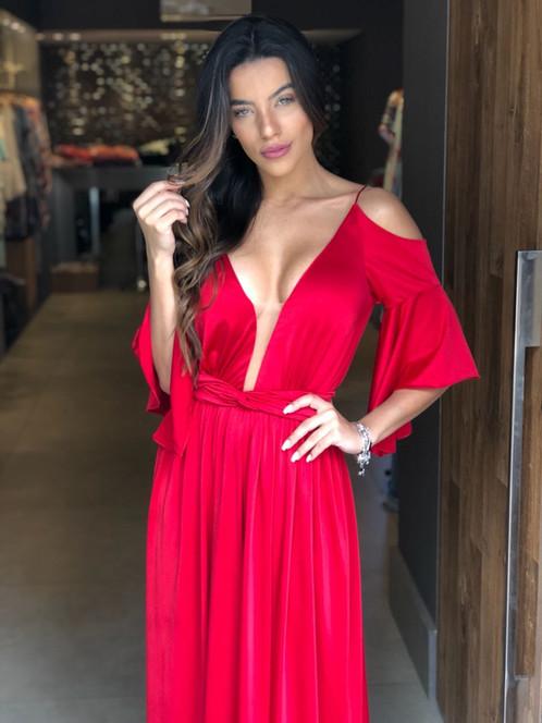 bb921d591 Vestido Vermelho Longo Liso 19901 FD