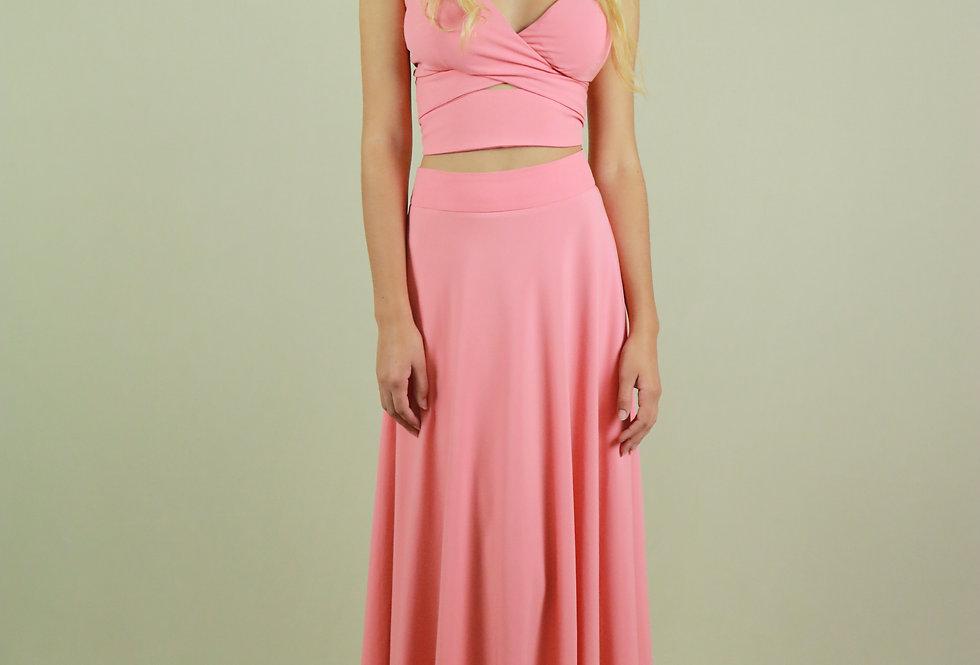 Vestido de Aluguel Longo Rosa Liso SP